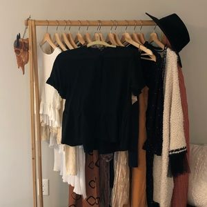 Black Madewell Ruffle Blouse with Buttons